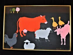 Large Framed Painting Jacqueline Rochester Animals Cow Sheep Duck Chicken Goat