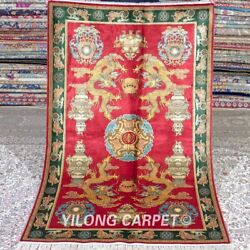 Yilong 3'x5' Red Dragon Handwoven Silk Carpet Turkish Tapestry Area Rug M518a