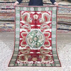 Yilong 3'x5' Handwoven Silk Carpet Red Dragons Turkish Lobby Area Rug M519a