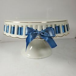 Vintage Glass Round Dome Cake Pie Stand Blue Ribbon
