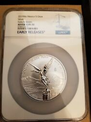 2019 Mexico 5 Oz Onza Silver Libertad Reverse Proof 1000 Minted 1 Population