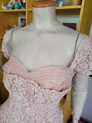 Vtg 50s Peach Illusion Lace Shelf Bust Cupcake Prom Formal Circle Dress Gown M/l