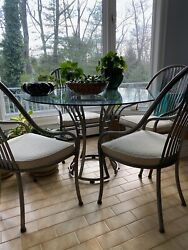 Elegant Contemporary Stainless Steel Base Dining Table Set With 4 Chairs