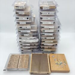 Stampinand039 Up Huge Lot Of 226 Rubber Stamps Wood Mount + 1 Stamps Happen