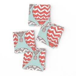 Cocktail Napkins Balloon Flying Machine Red Blue Chevron Airplane Hot Set Of 4
