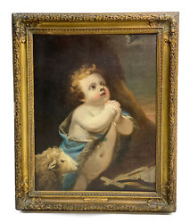 18th Century Benjamin West Oil On Canvas Painting St. John Putto With Lamb