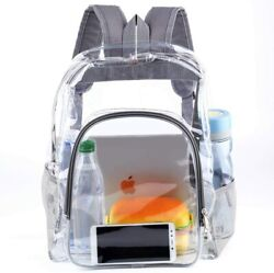 Heavy Duty Transparent Clear Backpack See Through Backpacks for College Grey $27.50