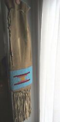 Crow Beaded Pipe Bag Vintage From Crow Agency Mt, Large 28