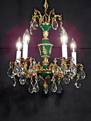 Antique French Petite Empire 5 Lite Brass Lead Crystal Chandelier 2 Avail