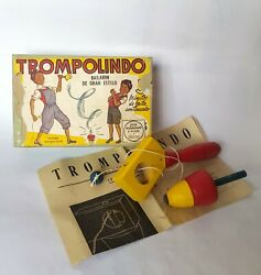 Very Rare Vintage 1930-40 Trompo Lindo Wooden Spinning Top With Box Argentina