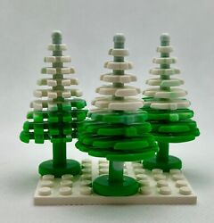 Lego New Bright Green Pine Tree With White Snow Plant Christmas