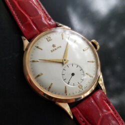 Mens Zenith 37mm 18k Solid Rose Gold 1960s Manual Swiss Dress Watch Ma167red