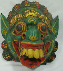Vtg Antique Chinese Dragon Mask Hand Carved Wooden Asian Ceremonial Beast
