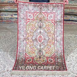 Yilong 2.5'x4' Red Handwoven Silk Area Rug Antique Tapestry Porch Carpet 540a