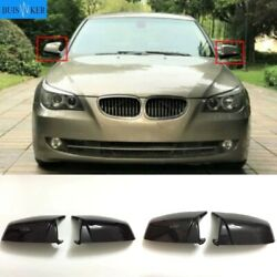 Side Wing Rearview Mirror Cover Cap For Bmw 5 6 7 Series Carbon Fiber Black