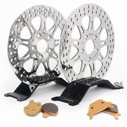 Front Rear Brake Rotors And Pads Low Rider Sport Custom Wide Glide Fxrs Fxrt 87-99