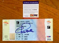 1992 Usa Olympic Dream Team Full Semifinal Ticket Signed By Chris Mullan Psa/dna