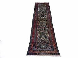 2and039 7 X 10and039 Antique Handmade Wool Floral Runner Rug Organic Dyes Ivory/beige