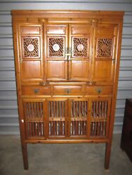 Chinese Qing Dynasty Antique Elm Wood Cupboard Or Kitchen Cabinet