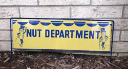 Mr Peanuts Vintage Funny Tin Sign Planters Double Sided Nut Department Work Desk
