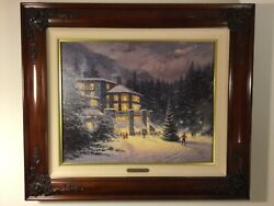 Thomas Kinkade Christmas At The Ahwannee Signed And Numbered Canvas Painting
