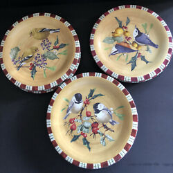8 Discontinued Lenox Everyday Winter Greeting 8 Salad Plate Chickadee Goldfinch