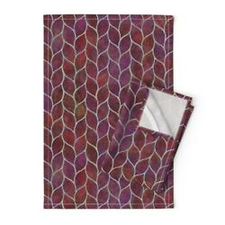 Leaf Tile Texture Grout Curve Linen Cotton Tea Towels By Roostery Set Of 2