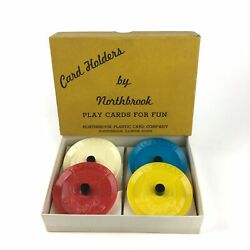 """Northbrook Card Holders 4 Plastic Red Blue White Yellow 3"""" Card Game Vintage"""