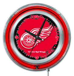 Detroit Red Wings Clock W/ Double Neon Ring