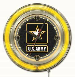 United States Army Clock W/ Double Neon Ring