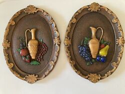 Vintage Chalkware Gold Wine Decanter Fruit Hand Painted Wall Hanging Plaque Pair