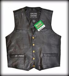 Vest Jacket Leather Plain Model - Mixed Size M Bikers Country