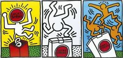 X3 Keith Haring Original Lucky Strike 1987 Poster Litho X3
