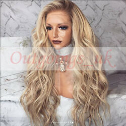 100 Peruvian Real Human Hair Wig Ombre Balayage Blonde Wavy Remy Lace Front Wig