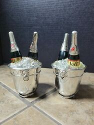 2 Sets Vtg Plastic Champaign Bottles In Ice Buckets Salt And Pepper Shakers Sugar