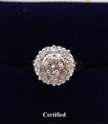 Vintage 0.62ct Diamond Cluster Ring 750 18ct Yellow Gold - Size M Us 6.25