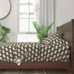Smuk White Rabbit Bunny Brown Animal 100 Cotton Sateen Sheet Set By Roostery