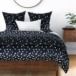 Contemporary Dots Watercolor Night Sky Indigo Sateen Duvet Cover By Roostery