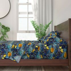 Abstract Modern Decor Blue Ocean Lake 100 Cotton Sateen Sheet Set By Roostery