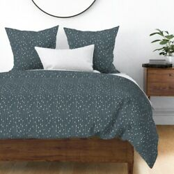 Geometric Stripes Dots Blue Grey Modern Sateen Duvet Cover By Roostery