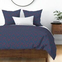 Molecules Red Blue Dots Line Sateen Duvet Cover By Roostery