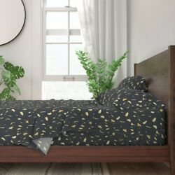 Gold Paint Gold Blobs Gold And Paint 100 Cotton Sateen Sheet Set By Roostery