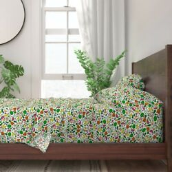 Food Fruit Vegetables Market Kitchen 100 Cotton Sateen Sheet Set By Roostery