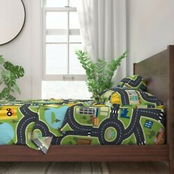 Playroom City Street Cars Kids Children 100 Cotton Sateen Sheet Set By Roostery
