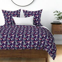 Whales Narwhals Fish Constellation Cloud Purple Sateen Duvet Cover By Roostery