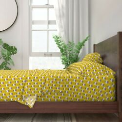 Floral Flower Tulip Mod Yellow 100 Cotton Sateen Sheet Set By Roostery