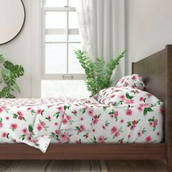 Watercolor Flowers Pink Floral Sprigs 100 Cotton Sateen Sheet Set By Roostery