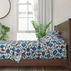 Turkish Tile Renaissance Painted Damask 100 Cotton Sateen Sheet Set By Roostery