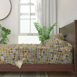 Mexican Talavera Tile C Colorful 100 Cotton Sateen Sheet Set By Roostery