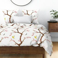 Chinoiserie Cherry Blossoms Butterfly Floral Pink Sateen Duvet Cover By Roostery